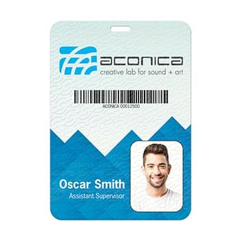 "Plastic Identification Badge (shown with holographic overlay substrate) - 4 1/4"" x 6"""