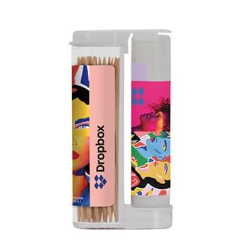 Wooden Toothpicks in a Rectangular Flip-Top Duo w/ SPF 15 Lip Balm
