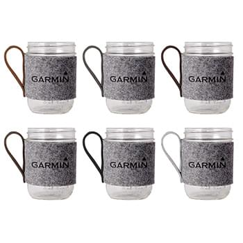 Willow Recycled Felt Sleeve & 16oz Wide Mouth Mason Jar