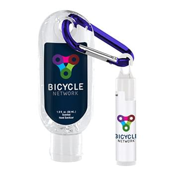 1.9 oz. Clear Sanitizer with Carabiner attached to SPF 15 Lip Balm
